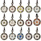 Pentagram 5 Pointed Star Silver Pewter Charm Crystal Necklace Pendant Jewelry image