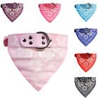 Dog Collar Adjustable Neck Scarf Bandana with Leather Neckerchief For Pet Cat