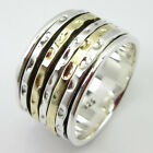 2 Tone 925 Sterling Silver SPINNER ART Ring Wide Band Men's Women's MULTI SIZE