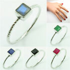 MULTIPLE SIZES Stackable Ring Band ! 925 Silver SIMULATED EMERALD Square Gems