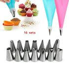 16 PCS Cake Decorating Kit Supplies Tools Tips Icing Bag Nozzles Piping Set