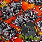 HYDROGRAPHIC FILM HYDRO ORANGE  RED FLAMING DICE SKULLS WATER TRANSFER DIP APE