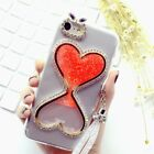 Bling Glitter Quicksand Hourglass Soft Back Phone Dynamic Cover Case & strap bl