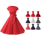 Women Retro Polka Dot Cap Sleeve Swing Dress 50s Vintage Pinup Dresses With Belt