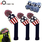 Golf Pom Pom Headcover 3 Pcs For Driver Fairway Hybrid Golf Club Knitted Covers