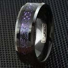 8mm Black Tungsten Purple Carbon Fiber Celtic Dragon Wedding Band Ring - Engrave