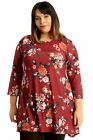 New Womens Plus Size Tunic Ladies Swing Top Floral Print Skater Round Neck Dress