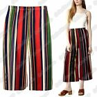 New Ladies Striped Wide Leg Culottes Flared 3/4 Length Summer Short Palazzo Pant