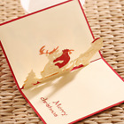 US Ship! Origami Handcrafted 3D Greeting Card Merry Christmas Santa & Elk Pop Up