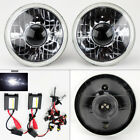 """7"""" Round 6K HID Xenon H4 Clear Projector Glass Headlight Conversion Pair Plymout"""