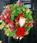 Christmas Holiday Wreath - Deco Mesh in Red & Lime/Apple Green with Santa Claus