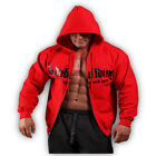 MENS COTTON FITNESS BODYBUILDING CLOTHING ZIP HOODIE WORKOUT GYM TOP MUSCLE
