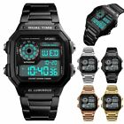 Mens Digital Quartz Wrist Watch Sport Army Waterproof LED Gold Stainless Steel image