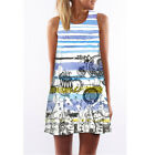 Women Lady Tank Top Mini Dress Floral Summer Casual Prom Party Loose Tunic Shirt