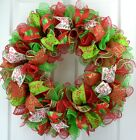 Red Lime Green and White Christmas Mesh Front Door Wreath - Made to Order