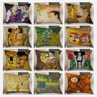 Gallery Art Decoration Cushion Cover Gold Yellow Gustav Klimt Oil Painting Kiss