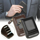Men's Wallet Leather Credit Card Holder RFID Blocking Zipper Thin Pocket Purse