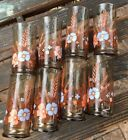 "8 VINTAGE RETRO ORANGE GOLD BROWN WHEAT 5 1/4"" TALL  Glasses TUMBLERS"
