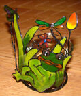 Wired Pond LifeTealight, (Frog, Dragonfly, Flowers) Stained Glass Style