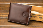 Men's  Genuine Leather Business Wallet with COINS POCKET Zipper Purse 03