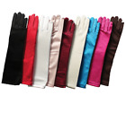Girls Long Satin Gloves Black Blue Turquoise Ivory Pink Silver Fuchsia Party New