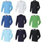 Front Row Long Sleeve Classic Rugby Sports Cotton Plain Polo Shirt (RW478)