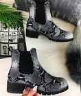 LADIES WOMENS CHELSEA ANKLE SNAKE SKIN STUDDED LOW HEEL PUNK CHUNKY BOOTS SHOES