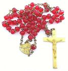 Vintage Red Rosary Sacred Heart Precious Blood Pius IX Quote