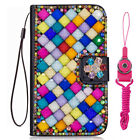 Bling Crystal fashion Leather slots Wallet Flip Protective Case Cover & strap #f