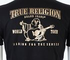 TRUE RELIGION Mens T-Shirt BUDDHA Black with Gold Foil $79 Jeans NWT image
