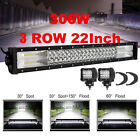 3 ROW 22INCH 306W LED WORK LIGHT BAR SPOT FLOOD COMBO For 4WD Truck Driving lamp