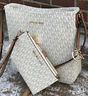 NEW MICHAEL KORS MK SIGNATURE VANILLA JET SET TRAVEL MESSENGER BAG or WALLET