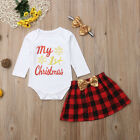 US Christmas Baby Girls Dress Clothes Cotton Romper Skirts Headband Outfits Set