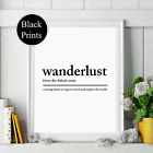 Wanderlust noun definition wall Print wording Picture Quote travel black white