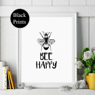 Bee Happy wall Print wording Picture Quote black words