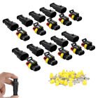 10 Kit 2 3 Pin Way Sealed Waterproof Electrical Wire Connector Plug Car Auto Set