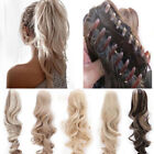 15-26 inch Wavy Claw Clip On Ponytail Hair piece 100% Human Remy Hair Extension