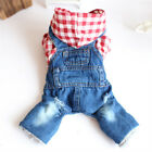 Winter Dog Jumpsuit Jeans Overalls Warm Pet Puppy Clothes Plaid Costume Outfit