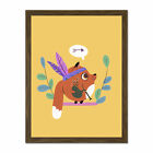 Fox Bagpipes Native Large Framed Art Print Wall Poster