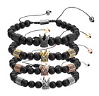 Imperial Crown Charm Bracelet Natural Matte Black Onyx Bead  Adjustable Jewwlry
