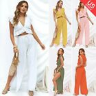 Womens Two Pieces Outfits V Neck Crop Top Side Split Wide Leg Pants Set Jumpsuit