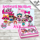 LOL DOLLS RECTANGLE EDIBLE CAKE TOPPER DECORATION PERSONALISED