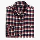 New Men's J. Crew Navy Blue Cream Plaid Flannel Shirt Sizes Large or X-Large