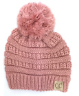 Solid Kids Solid Pom CC Beanies YJ847POM *AUTHENTIC*  BEANIE IN INDI PINK