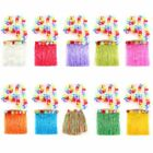 Kid Hawaiian Hula Dress Flower Headband Wristband Party Skirt Beach Cosplay 5pcs