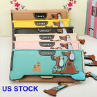 Women Faux Leather Dog Pendent Wallet Double Zip Hasp Purse Card Holder Bag USA