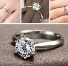 Womens Round Rings Silver Plated Band Ring Cubic Zirconia Jewellery Fashion Gift