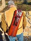 "Traditional Archery Back Quiver, 21"" 2-strap, RH, Medium Brown Leather"