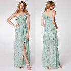Womens One Shoulder Floral Print High Low A-Line Party Dress Bridesmaid UK 10-20