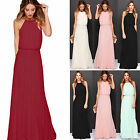 Womens Ladies Halterneck Chiffon Evening Party Wedding Long Maxi Dress Size 6-14
